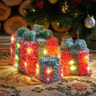 Set of 3 Lit Gifts Red