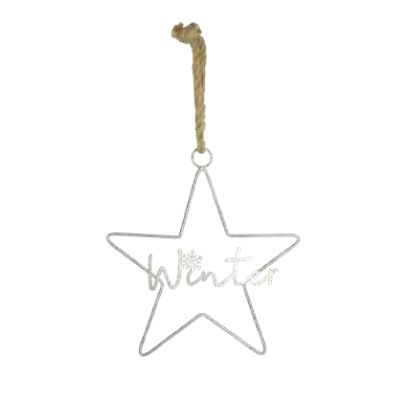 40cm Hanging Silver Winter Star Decoration