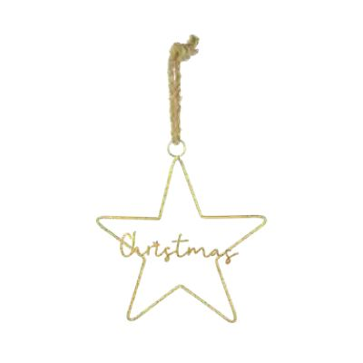 40cm Hanging Gold Christmas Star Decoration