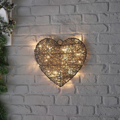 40cm Grey Rattan Christmas Heart   Battery Operated