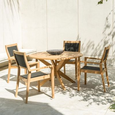 Alexander Rose Roble Round Dining Table with Cross Base 1.25m