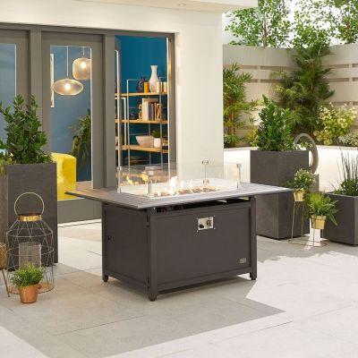 NOVA Mercury 130cm x 90cm Rectangular Aluminium Firepit Table