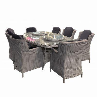ENJOi Eden Windsor Grey 8 Seat 250cm Boat Dining Set