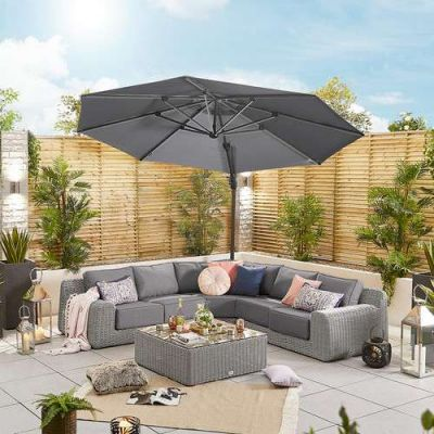 NOVA Galaxy 3.5m Round LED Cantilever Parasol with Lights (Base Included)
