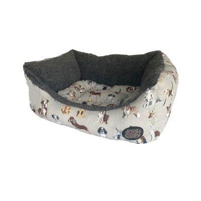 Snug & Cosy Rectangle Bed Dog Print