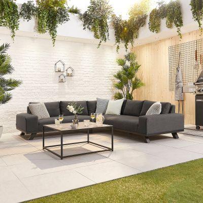 NOVA Tranquility Fabric Corner Sofa Set  Dark Grey