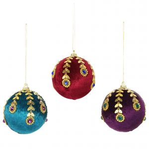Hanging 8cm Velvet Bauble with Jewels
