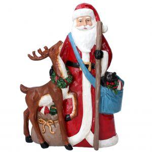 Freestanding 29cm Resin Santa with Reindeer