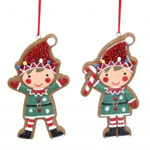 Hanging 8cm Resin Gingerbread Elf Decoration