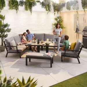 NOVA Vogue Aluminium Casual Dining Corner Sofa Set with Rising Table & Armchair