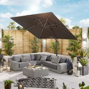 NOVA Galaxy 3m x 3m Square Cantilever Parasol with LED Lights (Base Inlcuded)