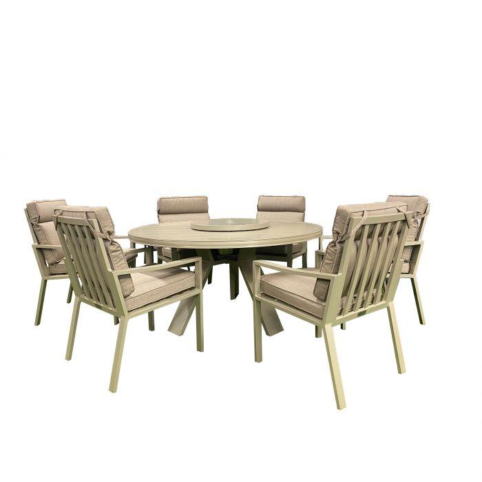 Kensington Carmel Six Seat Dining Set, Kensington Cast Aluminium 2 Seater Garden Bench
